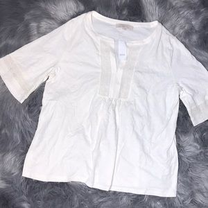 NWT loft lace detail bell sleeve blouse large